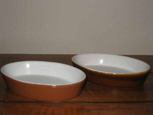"""H F Coors Chefsware 94 Souffle Two (2) Oval Dish Brown 6"""" Dish"""