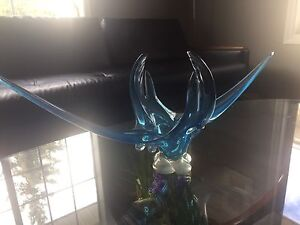 Mid Century Vintage Retro Blown Glass Centrepiece/ Blue 1960