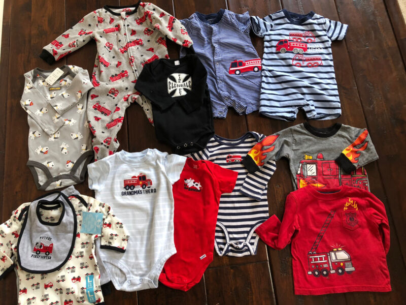Mixed Lot 13 Pieces Baby Boys Clothes Fireman Firetruck Size 6-24 Month Pre