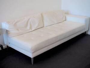 White Leather Two Seater Sofa -pick up Paddington NSW Mon 26 June Paddington Eastern Suburbs Preview