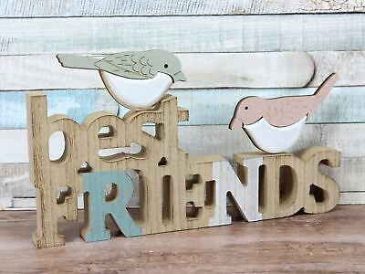 Best Friends Decorated Birds Wooden 3D Words Freestanding Plaque