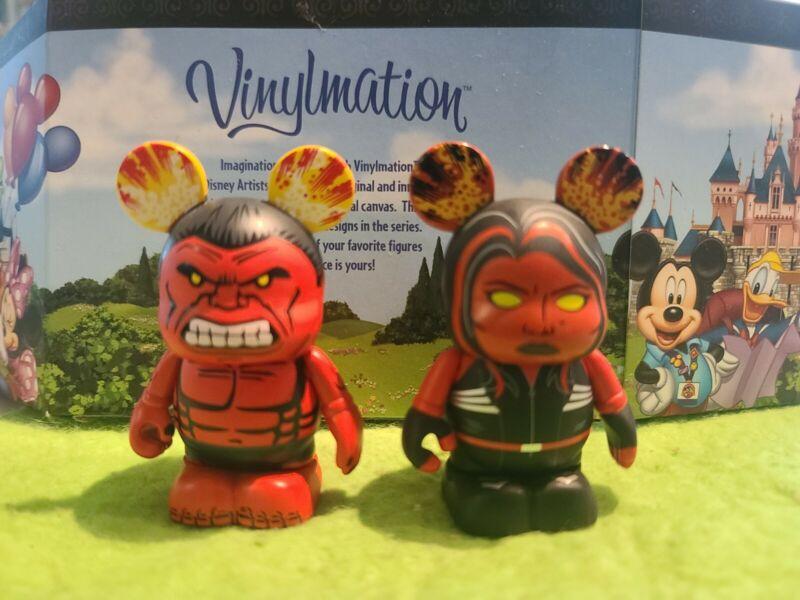 """DISNEY Vinylmation 3"""" Park Set 1 Marvel Avengers Red Hulk and She Hulk"""