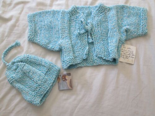 Hand Knitted Teal Baby Sweater Hat Set Newborn to 6 Months Girl Boy Shower Gift