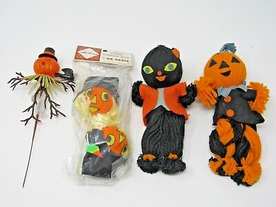 Vintage Halloween Packaging Decorations Black Cat, Pumpkins Yarn Felt Plastic  - Sinister Halloween Decorations