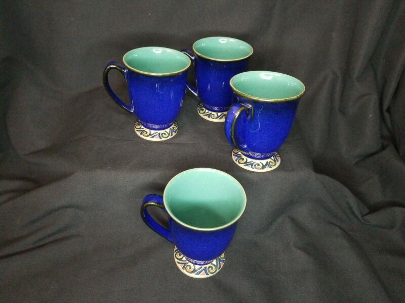 SET OF 4 BLUE GREEN DENBY BATIK  MUGS.