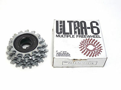 14x22 New-Old-Stock Suntour Pro-Compe Ultra 6-Speed Freewheel w//Silver Finish