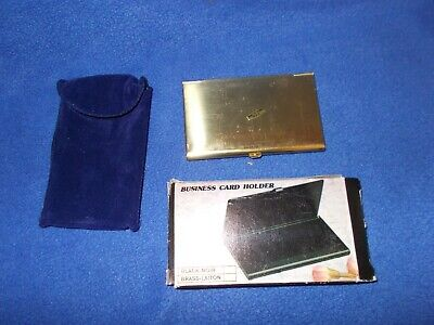 Brass-plated Business Card Holder - New In Box