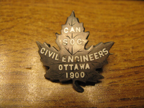 Canadian Society of Civil Engineers Ottawa 1900 silver Maple Leaf badge pin