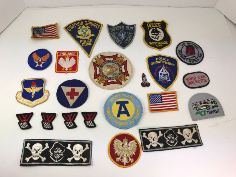 Lot of 23 Vintage Patches Connecticut Police Sheriff Poland Vet