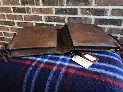 VINTAGE FRANCE 1940's HANDMADE BROWN SADDLE BAG LEATHER BRIEFCASE BAG R$1245