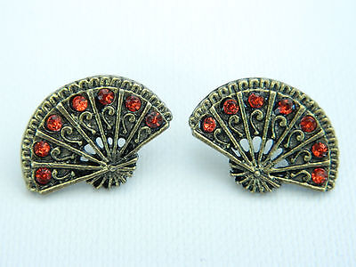 Antique Bronze Fan (Vintage Antique Bronze Fan with Red Diamond Crystals Studs Earrings E254)