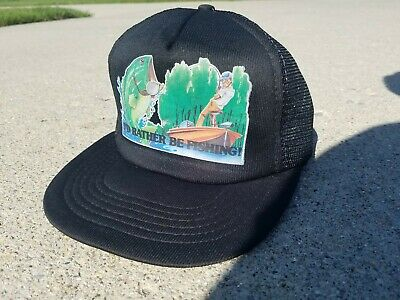 I'd Rather Be Fishing Trucker Hat Black Mesh Snapback Collectible Vintage YOUTH
