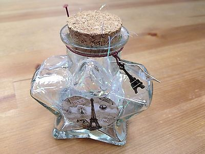 """New Origami Star Shaped Jar Glass Favor Bottle with Cork- 4.5"""""""