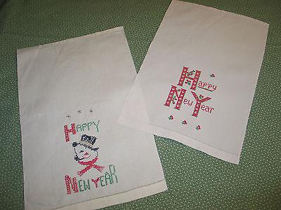 PR Antique VTG Hand Embroidery LINEN Guest-Kitchen Towel HAPPY NEW YEAR-SNOWMAN