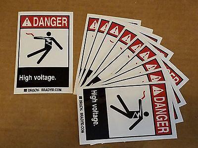 Brady Danger High Voltage Warning Self Adhesive Sticker Polyester Label 10pcs