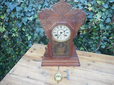 Antique New Haven Kitchen Clock Gingerbread Wood Oak Carved Works!