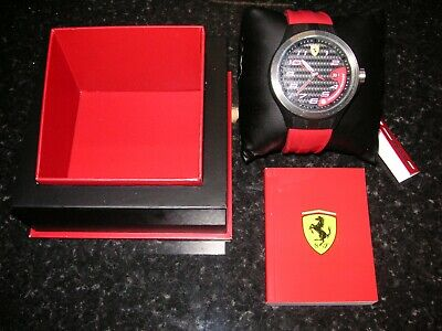 GENUINE Scuderia Ferrari Men's 0830014 Lap Time Red Strap Easy Read Dial Watch