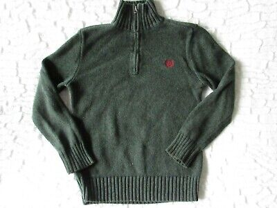 CHAPS Green Cotton Long Sleeve 1/2 Zip Pullover Sweater, Little  Boys size 7
