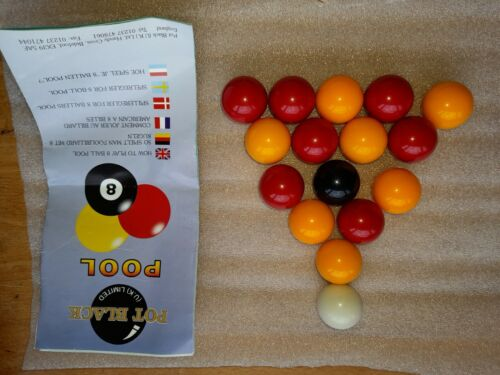 Full Set of 1 1/8 inch Yellow and Red - Pool Balls + instructions