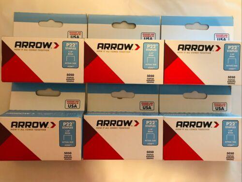 "Lot of 6 Boxes #224 1/4"" Arrow Staples For P22 Plier Stapler (5,050 per Box)"