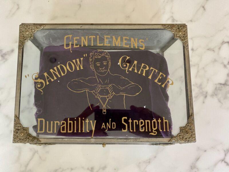 Antique Victorian Glass Display Case Eugene Sandow Men's Garters Original
