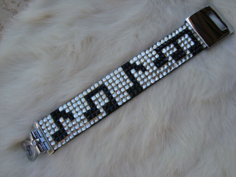 Music Crystal Bracelet Eighth Notes 7 Rows Black/Clear Crystals Brand NEW NICE!