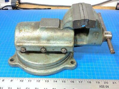 Vintage Fpu Bison 74-1 Bench Vise 4 Inch Jaws W Swivel Base