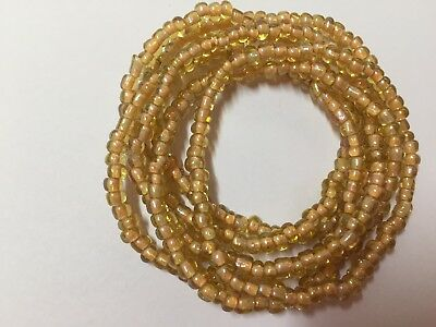 Gorgeous gold color glass seed bead stretch bracelets multi strand