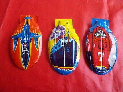 Vintage Tole (VINTAGE 3 CLIC CLAC CLICKER TOLE LITHOGRAPHIE voiture avion bateau Japan tin toy)