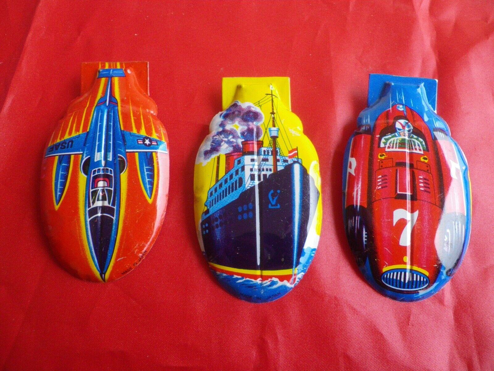Vintage 3 clic clac clicker tole lithographie voiture avion bateau japan tin toy