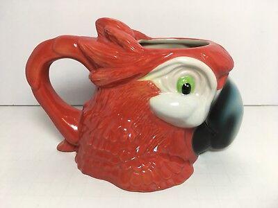 - Rainforest Cafe Red Ceramic Macaw Parrot Mug Cup Large Figural 2007