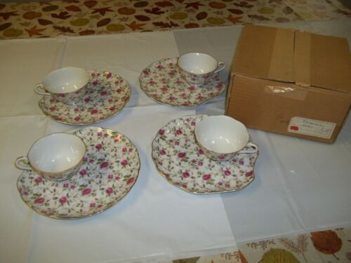 Set of 4 VTG LEFTON Hand Painted China ROSE CHINTZ Plate & Tea Cup Lunch Snack