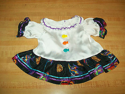 SHINY SILKY TROPICAL FISH DRESS ONLY w/ribbons for 15-16