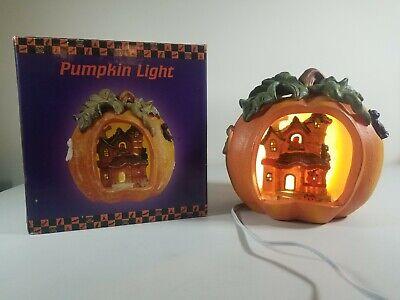 VTG Ceramic Pumpkin Light Up With House Inside Cats Ghosts Halloween