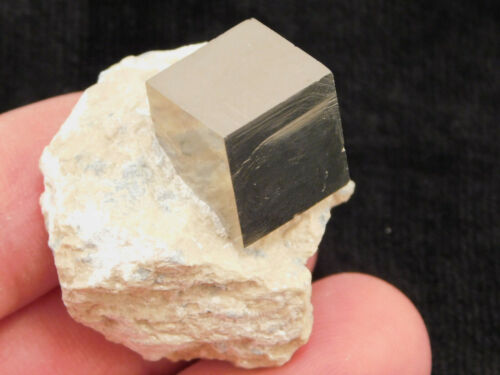 A Perfect 100% Natural Pyrite Crystal CUBE on Matrix! Spain 42.3gr