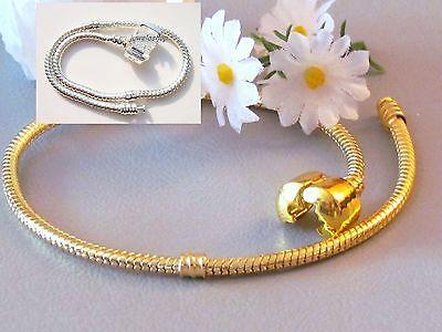 CLIP Armband 17-23 cm Beadarmband GOLD & 925 SILBER pl Bettelarmband Beads Charm ()