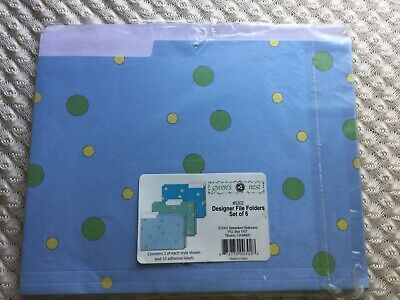 Gwens Nest Set Of 6 Letter Size Decorative Polka Dot File Folders - Nip