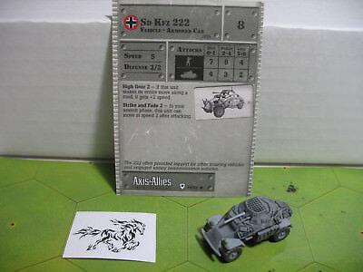 Axis & Allies Base Set Sd Kfz 222 with card 34/48 Axis Allies Base Set