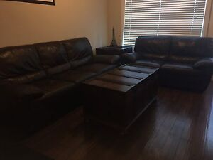 Italian Leather Dark Brown Sofa Set