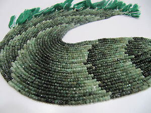 Natural Emerald Beads 3-4mm Rondelle Faceted 13 inch strand Precious Gemstones