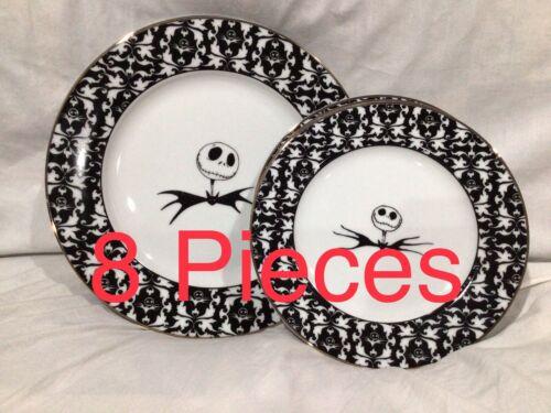 "Disney Nightmare Before Christmas Jack 10.5"" Dinner & 8"" Salad Plate 8 Piece Set"