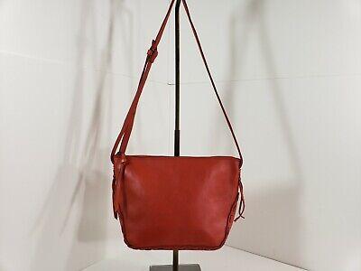Madewell Red Leather Crossbody Shoulder Bag Handbag Purse Thick Stitches Deep Red Leather Handbag