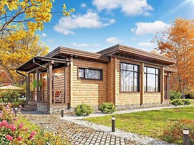 LAMINATED LOG HOUSE KIT ECO FRIENDLY WOOD PREFAB DIY BUILDING CABIN HOME GLULAM](Wood Building Kits)