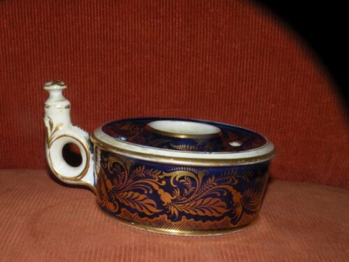 ANTIQUE EARLY 19TH CENTURY DERBY PORCELAIN COBALT GOLD INKWELL with finger ring