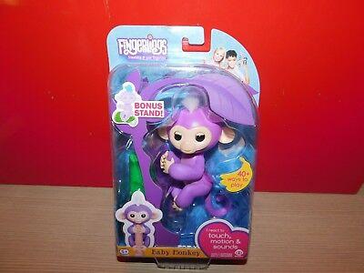 Fingerlings Interactive Baby Monkey Mia   Bonus Stand Purple W  White Hair