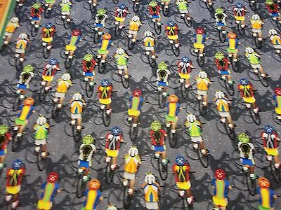 RACING  CYCLIST MULTI  DESIGN  100% COTTON  NEW  LOOK  1 YARD