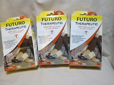FUTURO Therapeutic Beige Knee Length Stockings Open Toe Firm for Men or Women ()