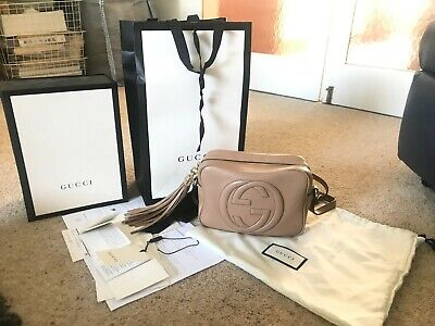 GUCCI Soho brown small leather disco shoulder across body bag with tassel-GOOD