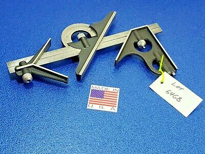 Fowler 4pc Combination Machinist Square Protractor Engineering Tool Lot 64gb