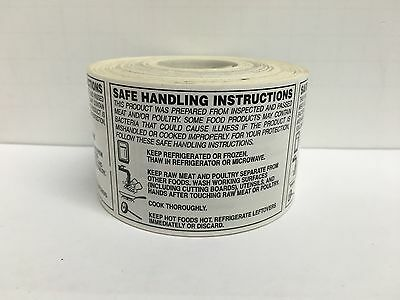500 Labels 2 X 2-34 Safe Handling Instructions Food Packaging Stickers